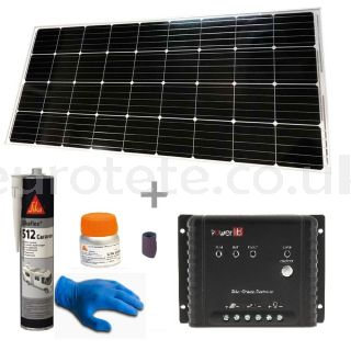 Solar panel 170 watts 150 x 67 cm with MPPT controller for motorhome