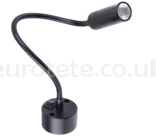 Lampara lectura led negro tubo flexible tubolar 12 voltios y 2 watios autocaravana 1