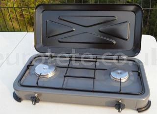Hornillo 2 fuegos con tapa basculante para camping