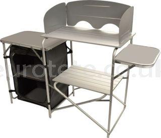 Mobiliario camping 143 x 41 x 107 con estructura y mesa para tiendas cocina de camping