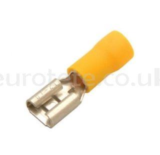6.3 mm yellow female faston terminal