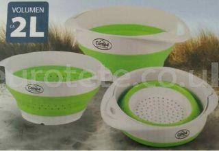 Escurridor y bol 2 en 1 plegable de silicona para cocina caravaning 1