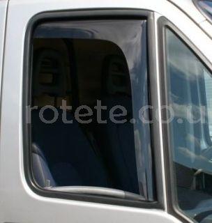 Wind deflector for window driver and passenger door of motorhome