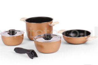 Ollas y sarten dorado con asa desmontable para menaje cocina de autocaravana 1