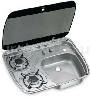Dometic HSG 2445 2-burner kitchen + right sink with cover 1