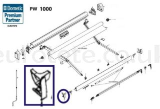 Dometic PW 1000 cover left outer rail front panel