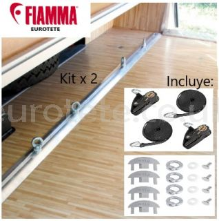 Fiamma 2 bars of 2 meters + 8 eyelets + straps Garage-Bars Premium motorhome 1