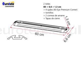 Fiamma 2 bars of 60 cm + 4 grommets + 2 Garage-Bars Premium straps motorhome 1