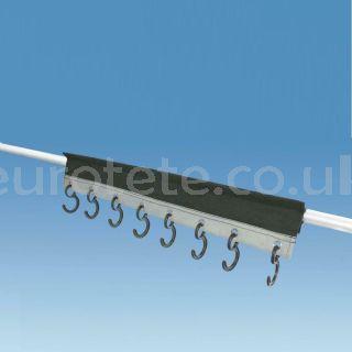 Colgador con 8 ganchos para barra toldo caravana con bordon, cinta velcro y cintas 1