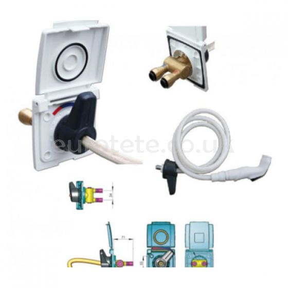 External shower of cold water and hot motorhome