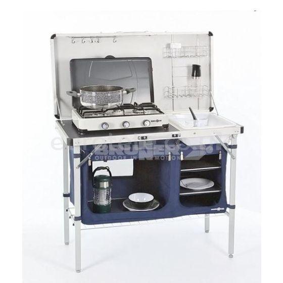Cocina camping Brunner con tapa plegable caravaning caravana tienda cocina 1