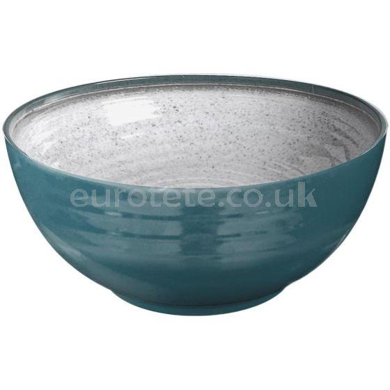 Melamine salad bowl in gray and blue Brunner anti-slip for caravaning or nautical