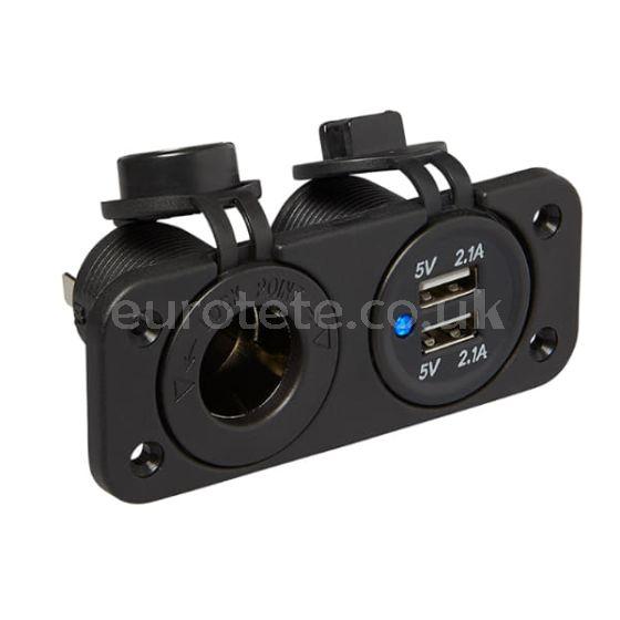 Usb-double-port-DIN-socket-with-frame-and-screws-motorhome-camper-van-1
